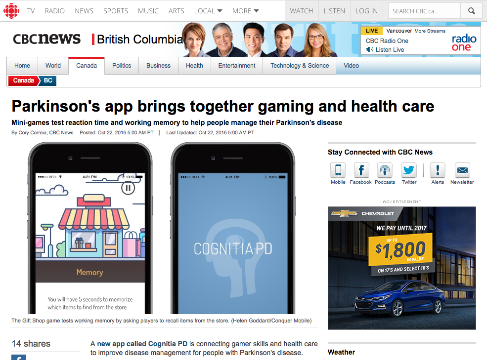 CBC News: Parkinson's app brings together gaming and health care Logo