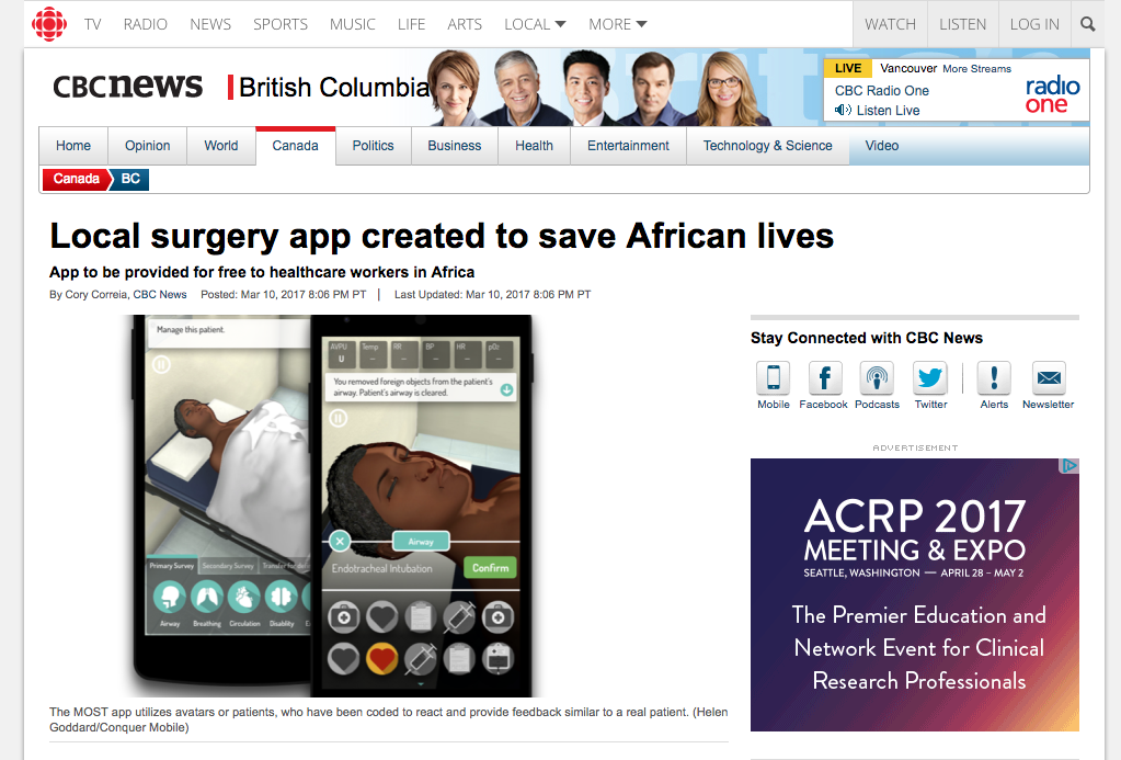 CBC News: Local surgery app created to save African lives Logo